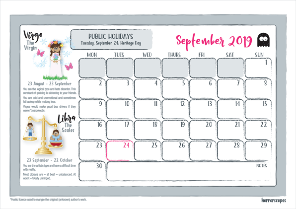 2019 horrorscopes wall calendar september
