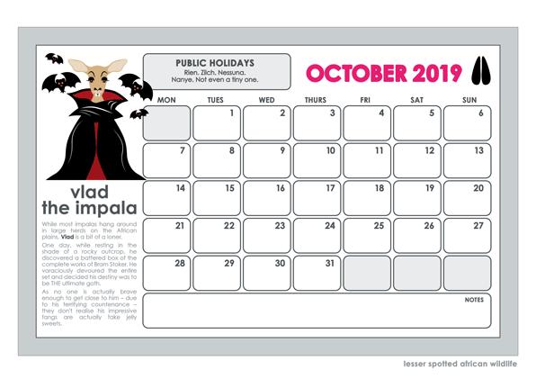2019 lesser spotted wall calendar october