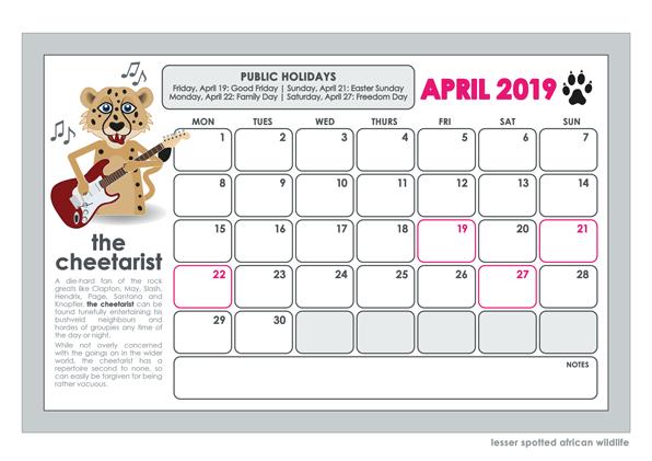 2019 lesser spotted wall calendar april