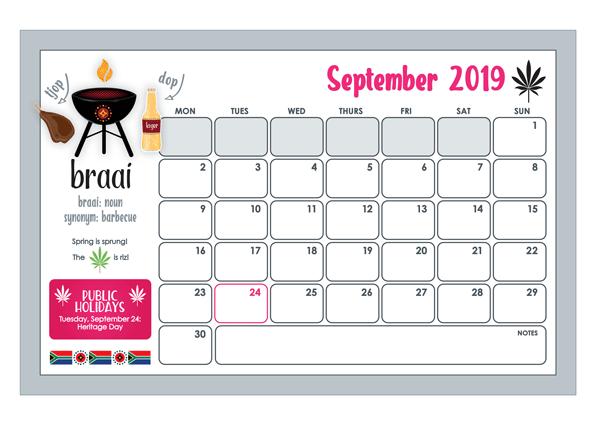 2019 vars vannie kaap wall calendar september