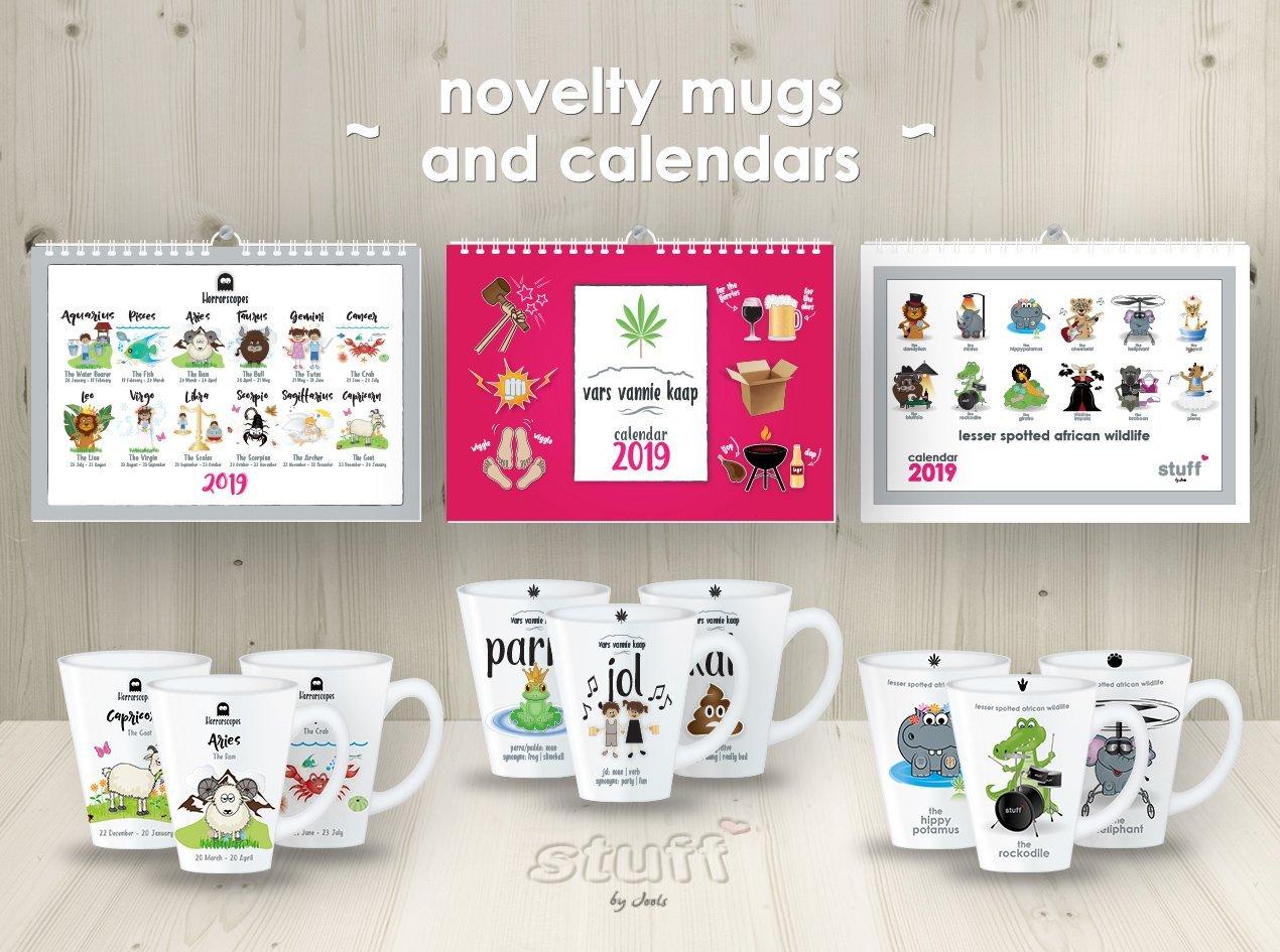 mugs and calendars